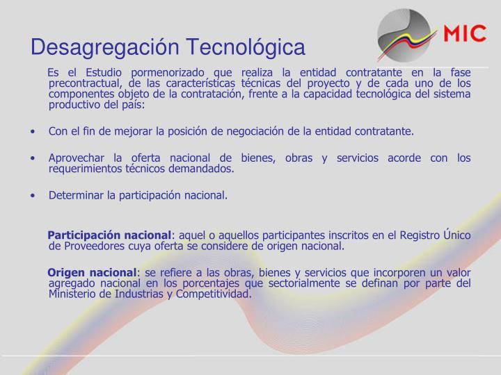 Desagregación Tecnológica