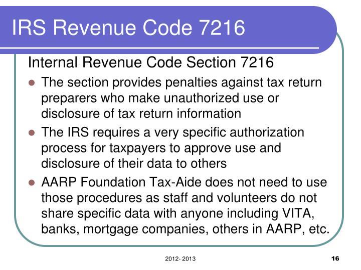 IRS Revenue Code 7216