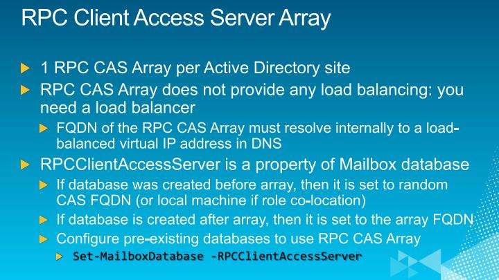 RPC Client Access Server Array