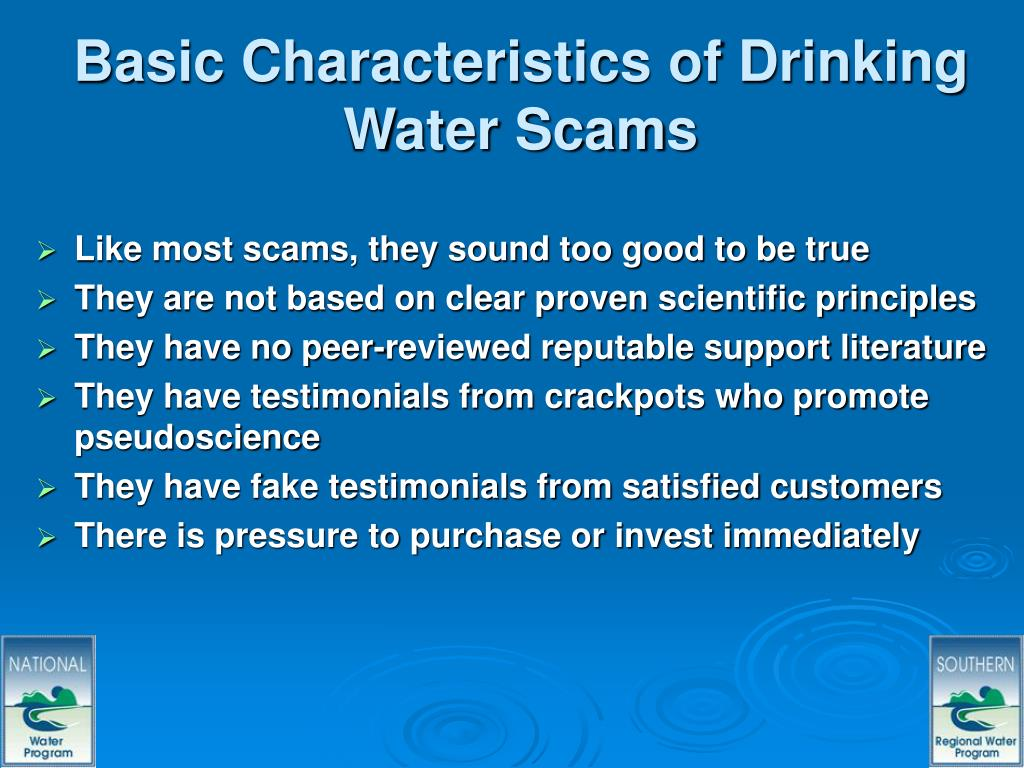 Basic Characteristics of Drinking Water Scams
