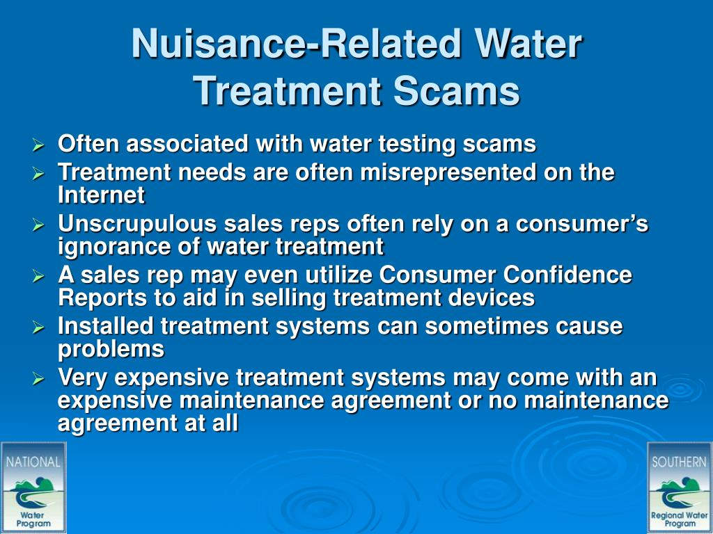 Nuisance-Related Water Treatment Scams