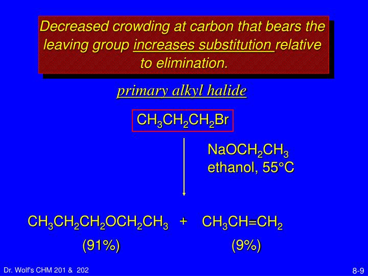 Decreased crowding at carbon that bears the