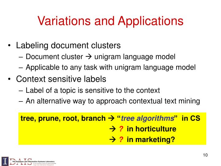 Variations and Applications