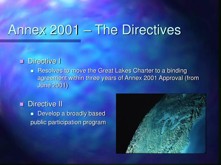 Annex 2001 – The Directives