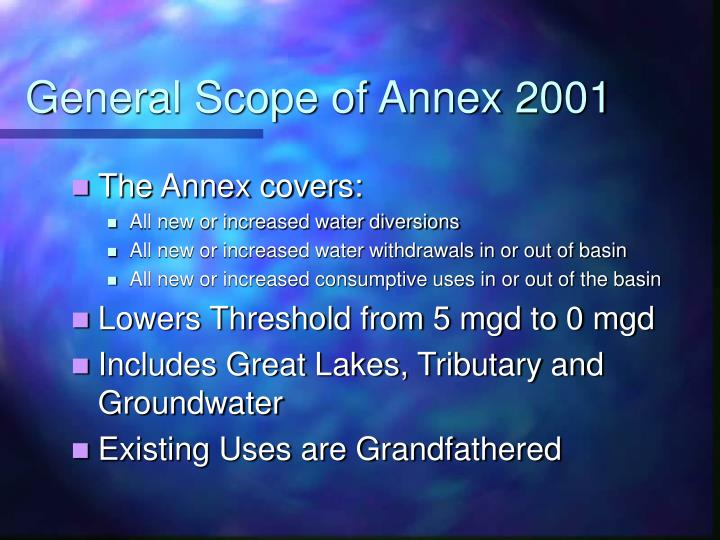 General Scope of Annex 2001