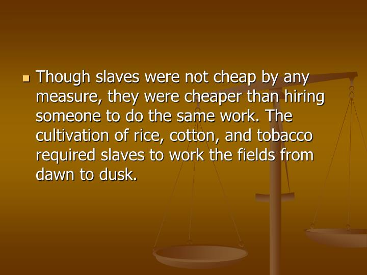 Though slaves were not cheap by any measure, they were cheaper than hiring someone to do the same work. The cultivation of rice, cotton, and tobacco required slaves to work the fields from dawn to dusk