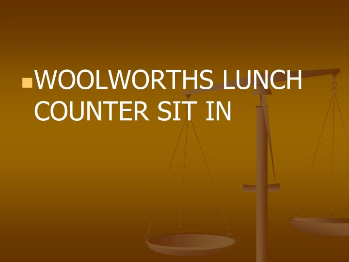 WOOLWORTHS LUNCH COUNTER SIT IN