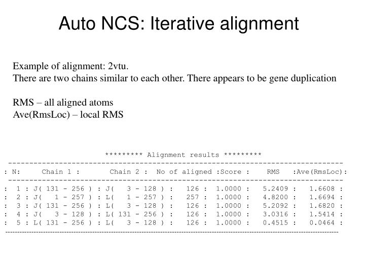 Auto NCS: Iterative alignment