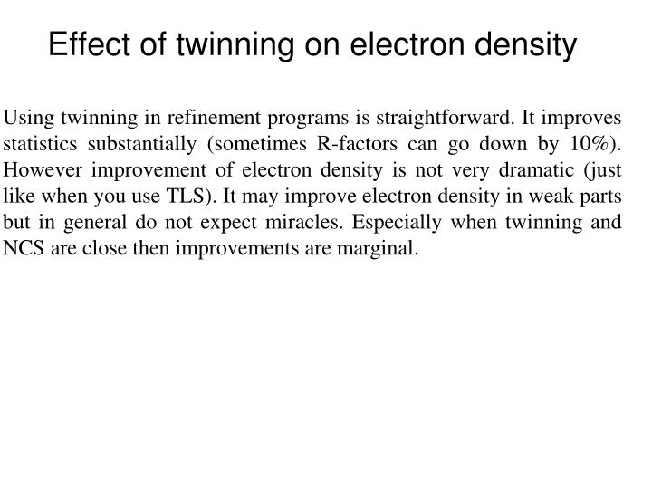 Effect of twinning on electron density