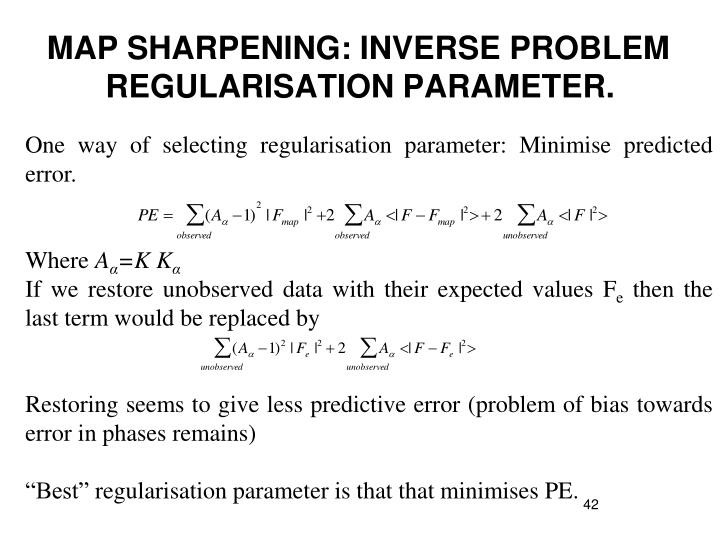 One way of selecting regularisation parameter: Minimise predicted error.