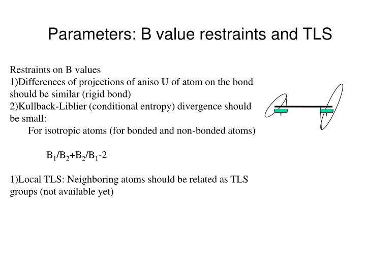 Parameters: B value restraints and TLS