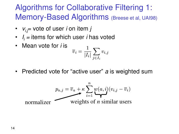 Algorithms for Collaborative Filtering 1: Memory-Based Algorithms