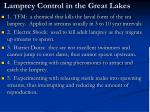 lamprey control in the great lakes