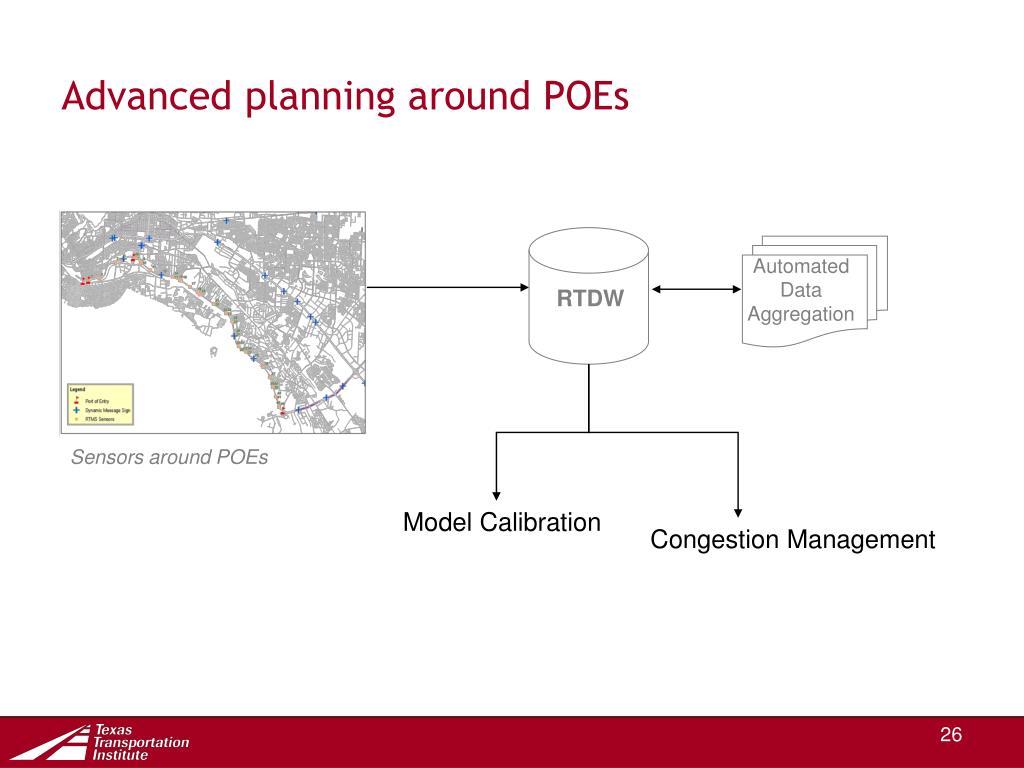 Advanced planning around POEs