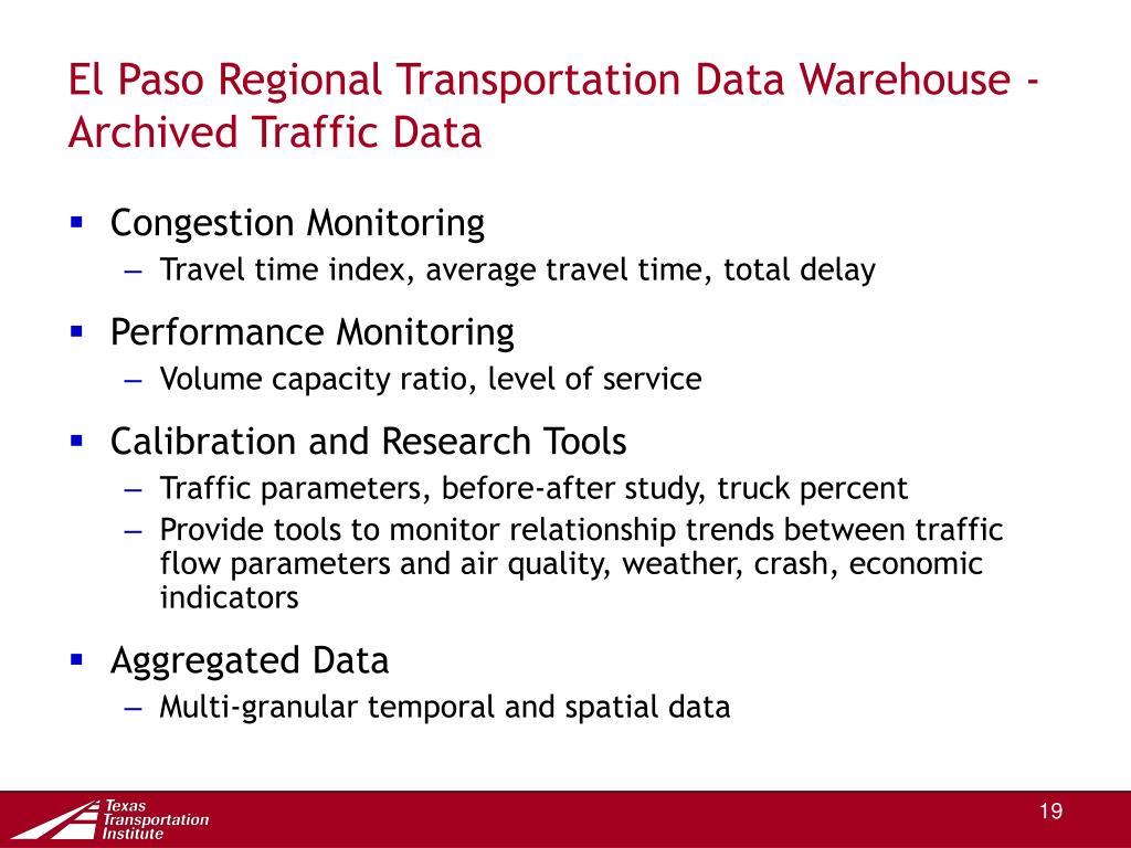 El Paso Regional Transportation Data Warehouse - Archived Traffic Data
