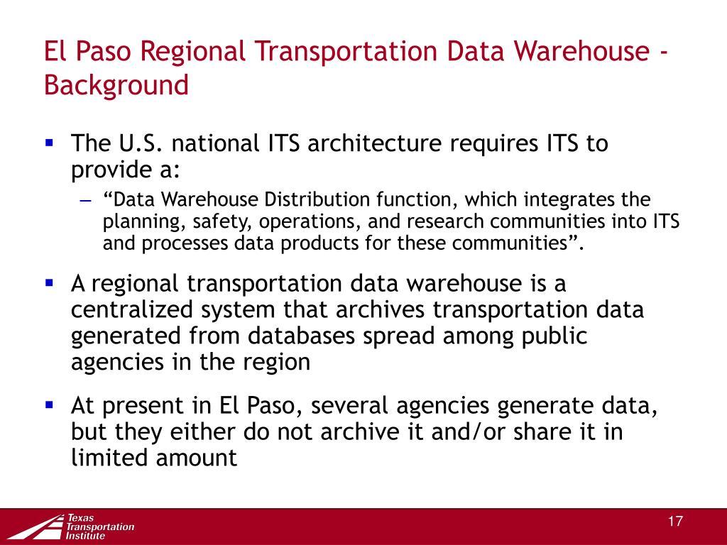 El Paso Regional Transportation Data Warehouse - Background