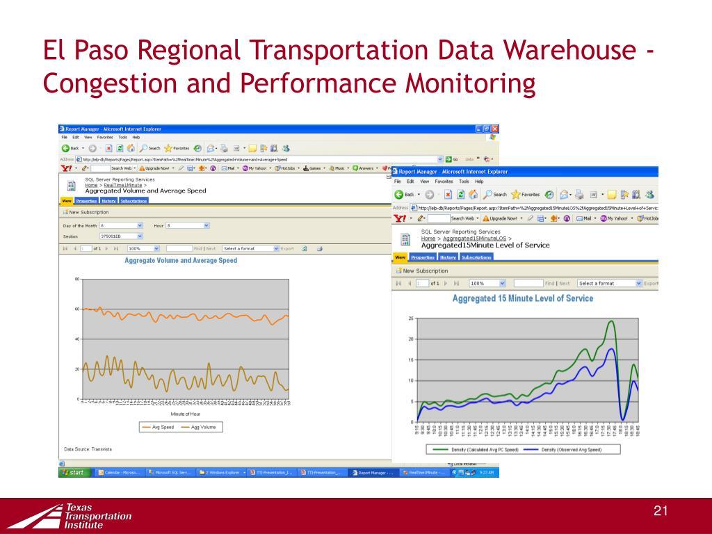 El Paso Regional Transportation Data Warehouse -  Congestion and Performance Monitoring