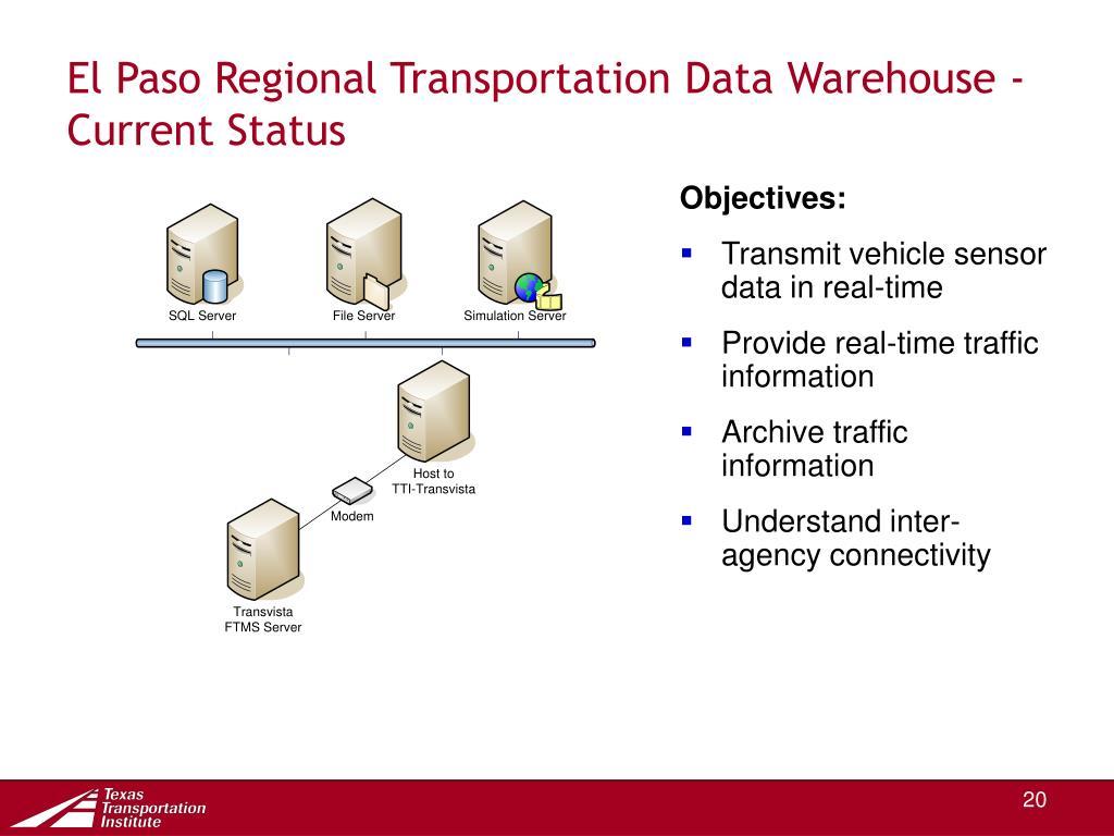 El Paso Regional Transportation Data Warehouse -  Current Status