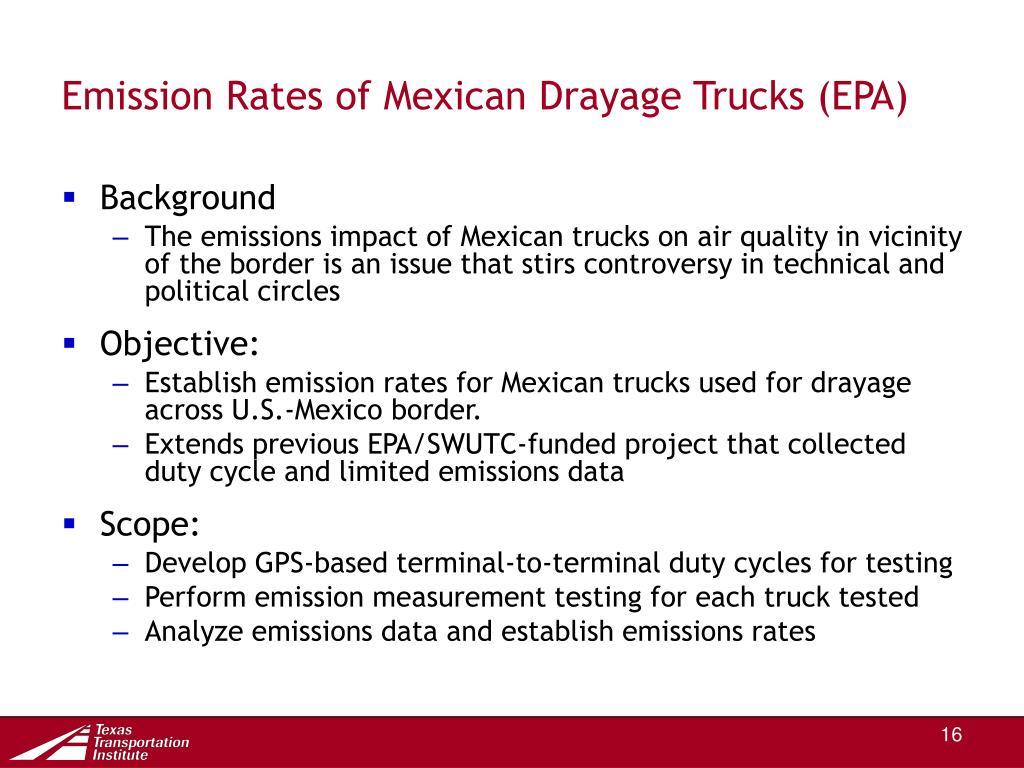 Emission Rates of Mexican Drayage Trucks (EPA)