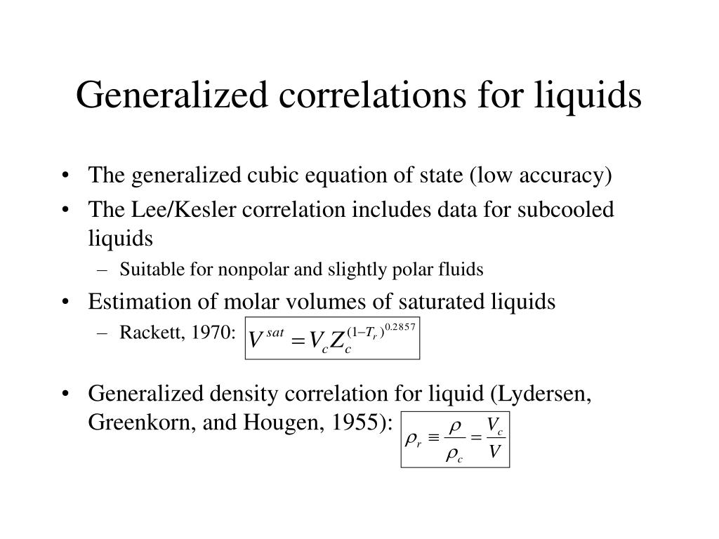 Generalized correlations for liquids