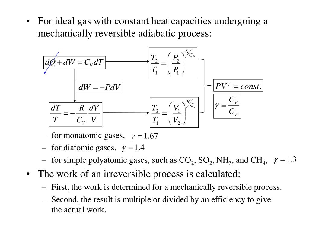 For ideal gas with constant heat capacities undergoing a mechanically reversible adiabatic process: