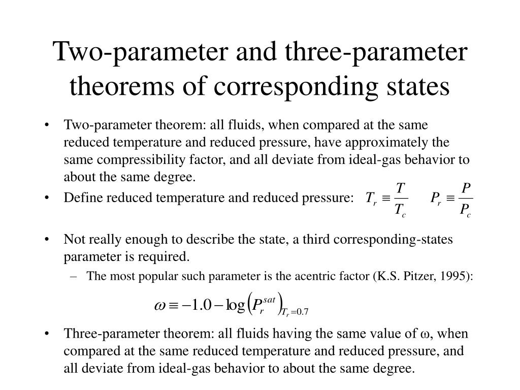Two-parameter and three-parameter theorems of corresponding states