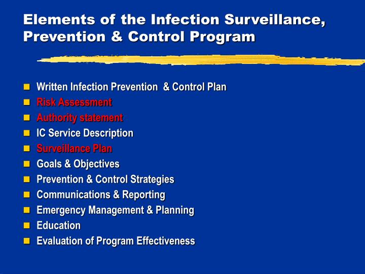Elements of the Infection Surveillance, Prevention & Control Program