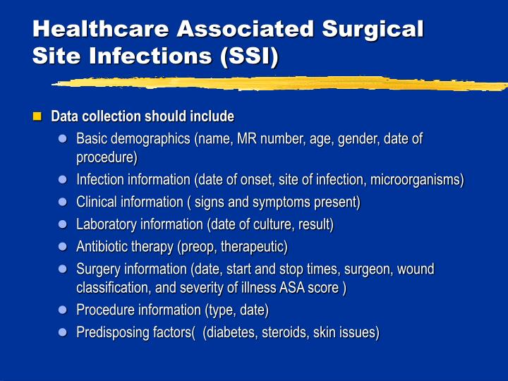 Healthcare Associated Surgical Site Infections (SSI)