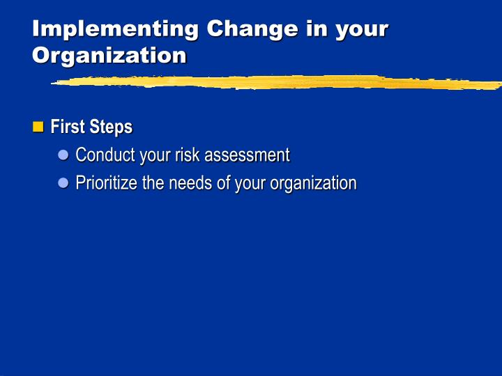 Implementing Change in your Organization
