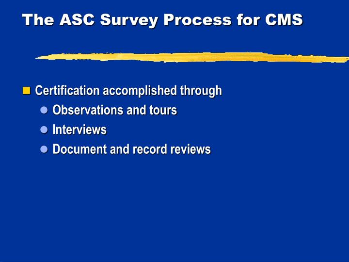 The ASC Survey Process for CMS