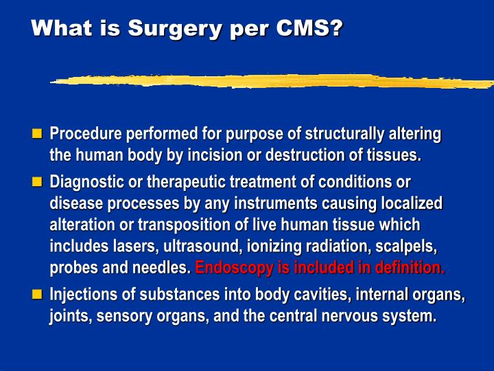 What is Surgery per CMS?