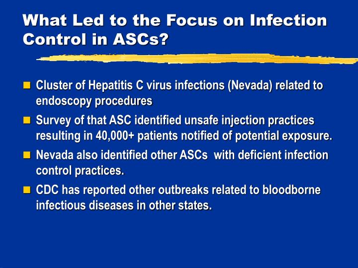 What Led to the Focus on Infection Control in ASCs?