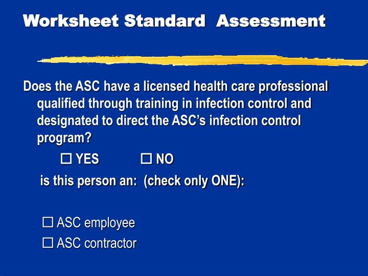 Worksheet Standard  Assessment