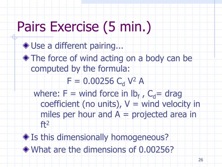 Pairs Exercise (5 min.)