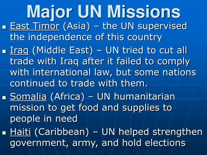 Major UN Missions