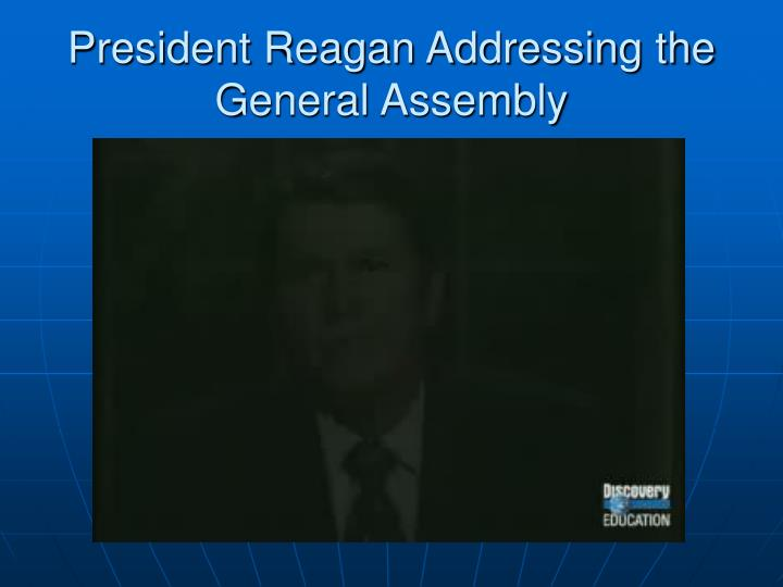 President Reagan Addressing the General Assembly