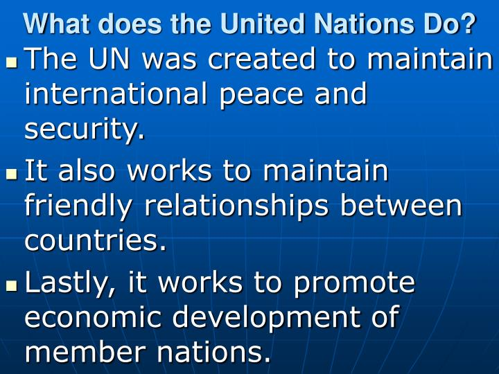 What does the United Nations Do?