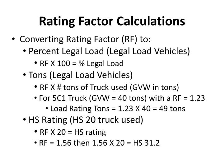 Rating Factor Calculations