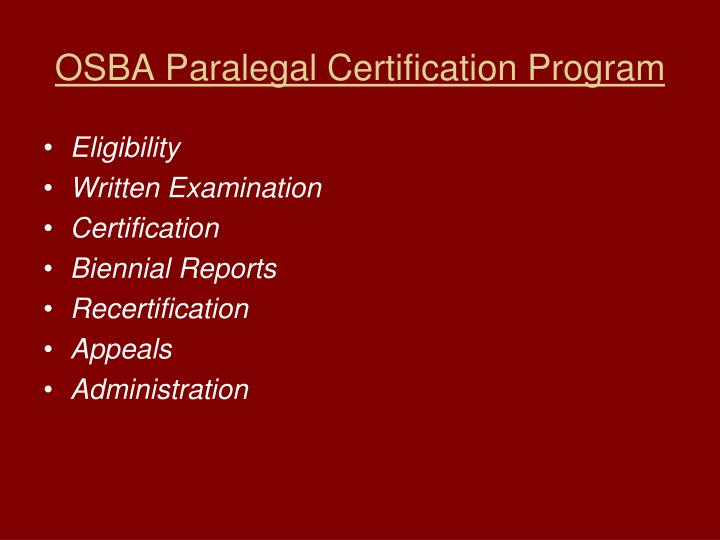 OSBA Paralegal Certification Program