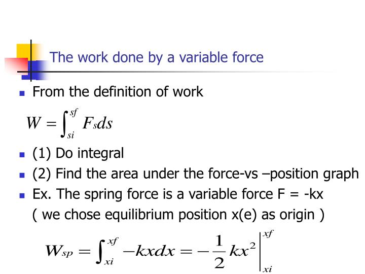 The work done by a variable force