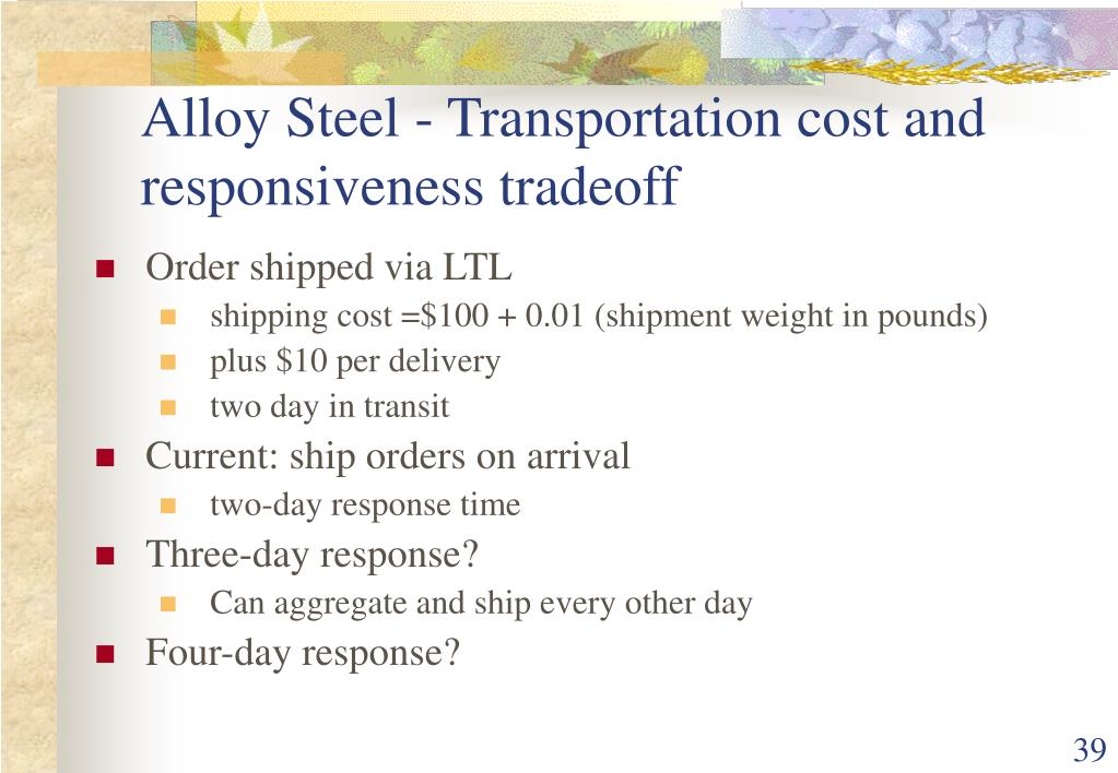Alloy Steel - Transportation cost and responsiveness tradeoff