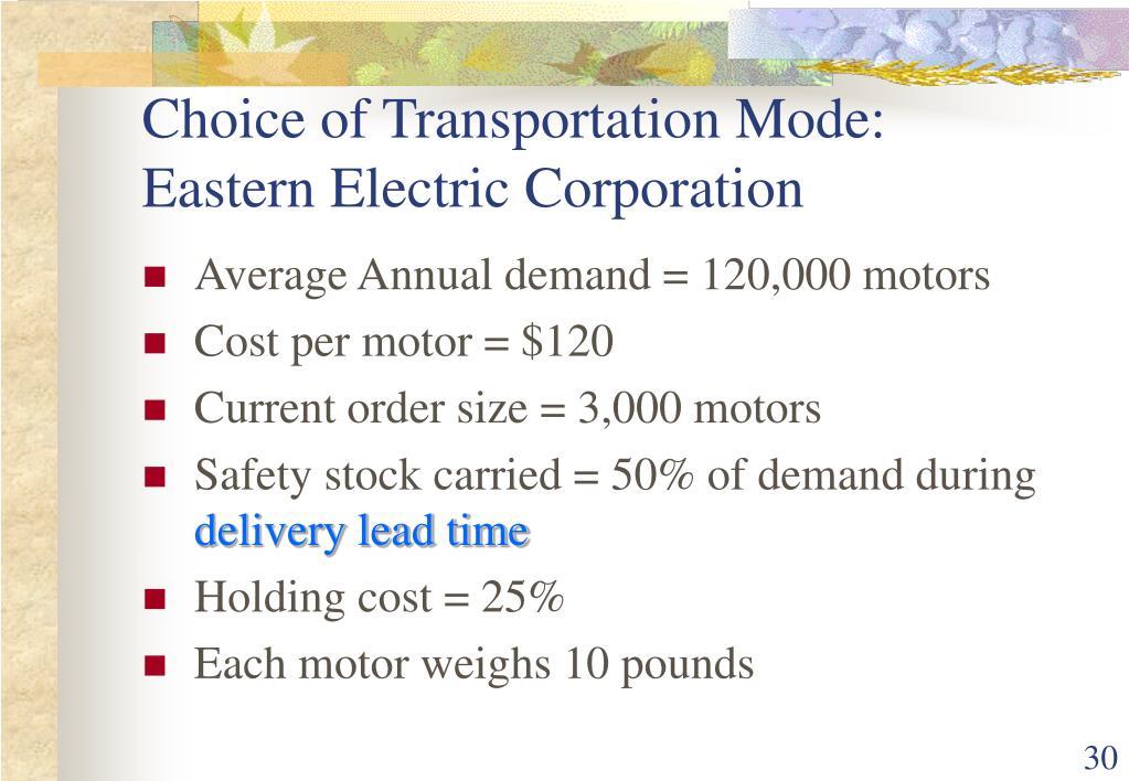 Choice of Transportation Mode: