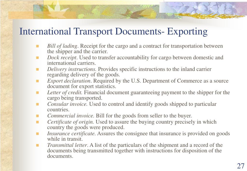 International Transport Documents- Exporting