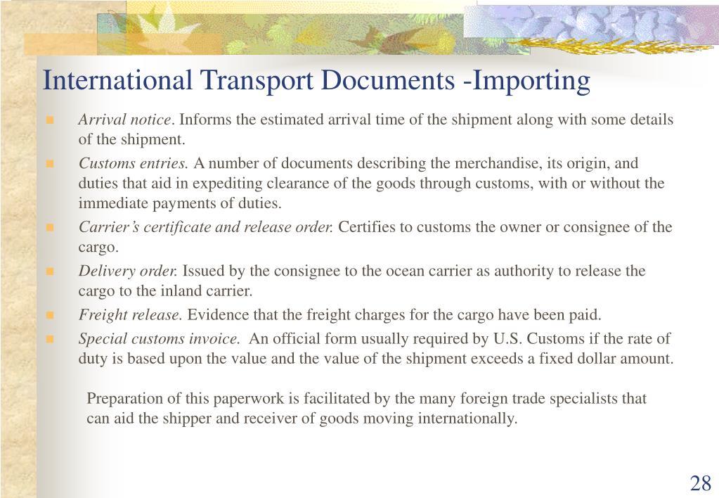 International Transport Documents -Importing