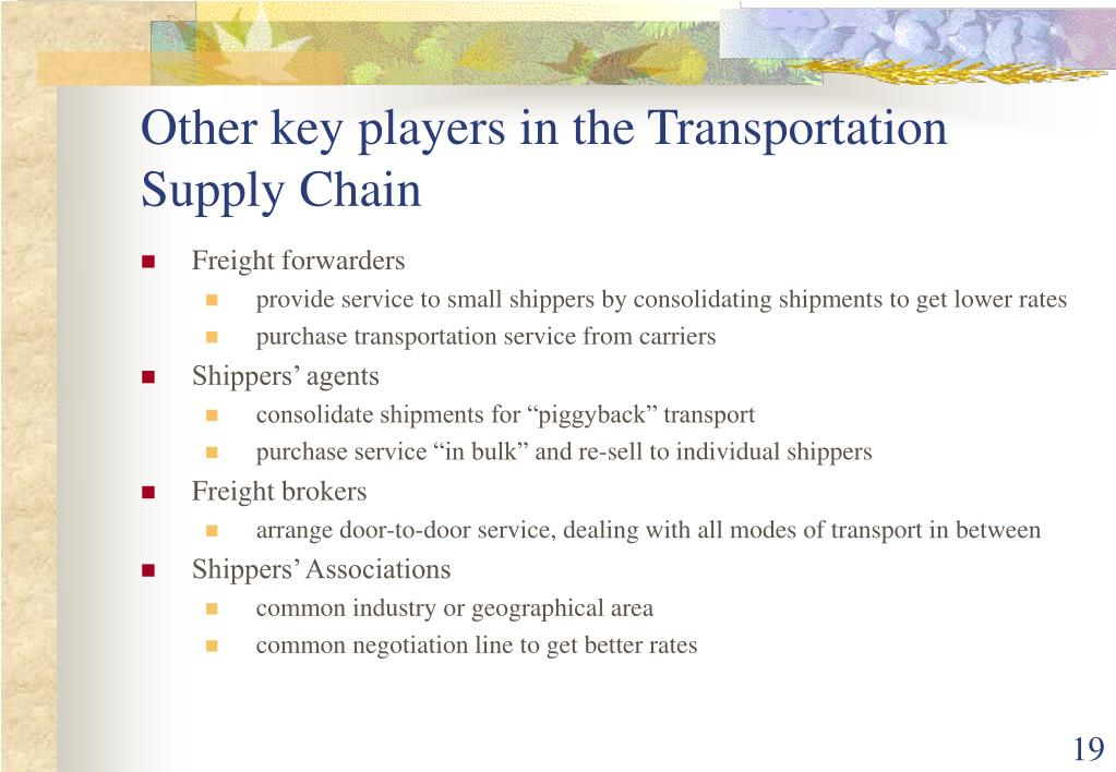 Other key players in the Transportation Supply Chain
