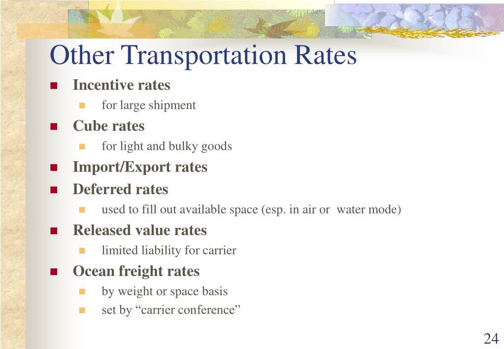 Other Transportation Rates