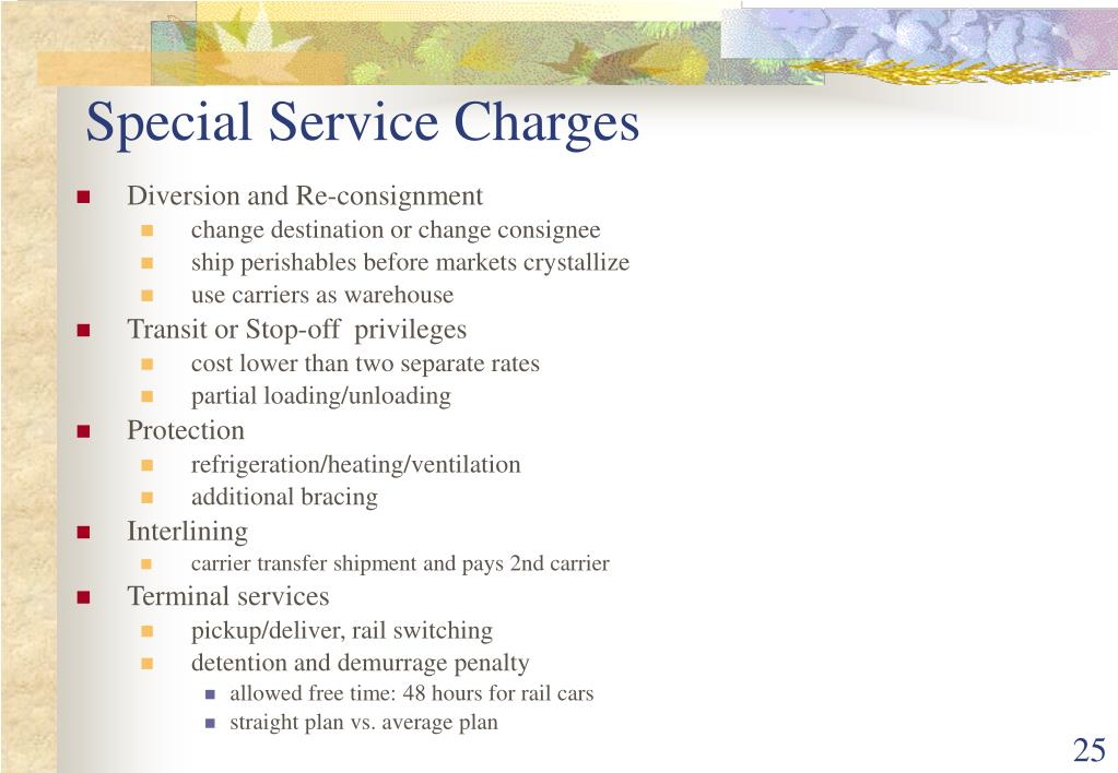 Special Service Charges