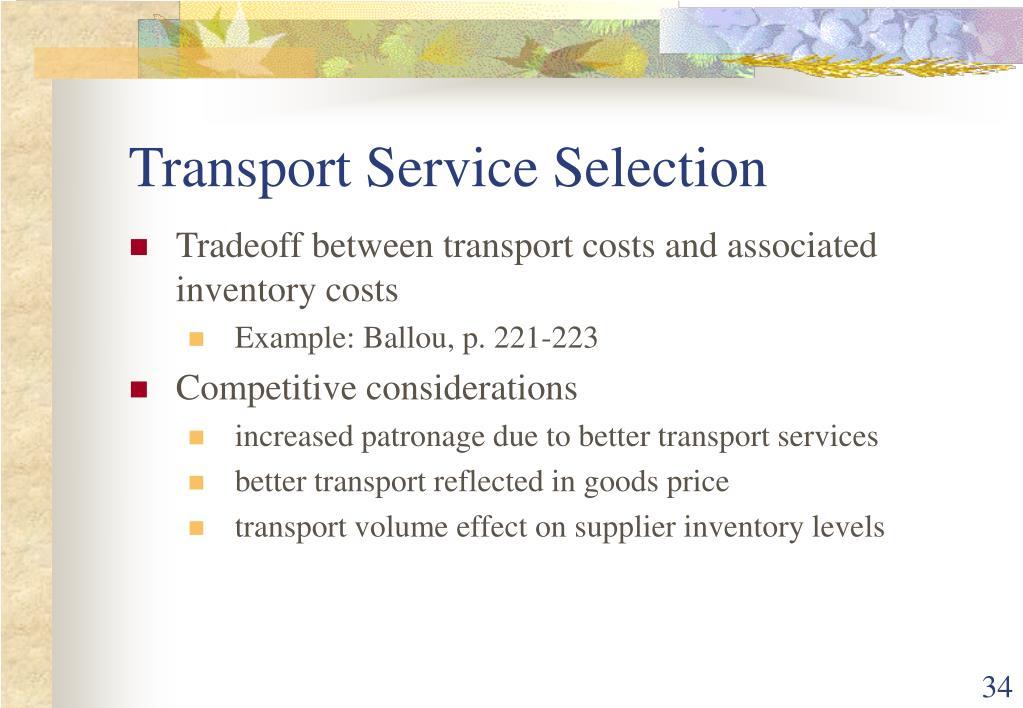 Transport Service Selection