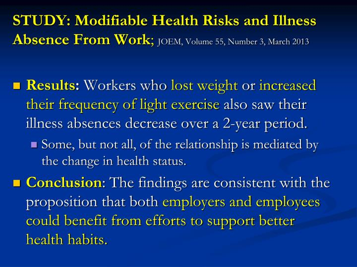 STUDY: Modifiable Health Risks and Illness Absence From Work