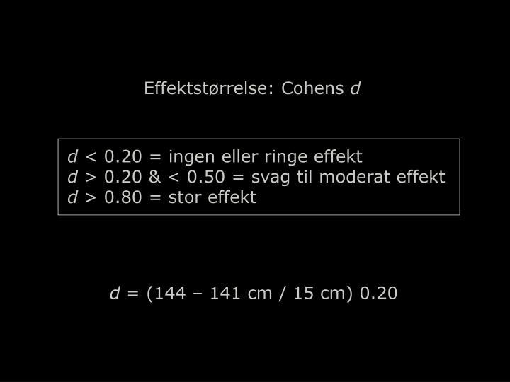Effektstørrelse: Cohens